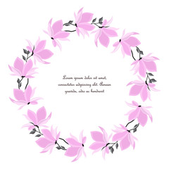 Vector illustration branches with floral decoration. Spring magnolia. Frame with pink flowers