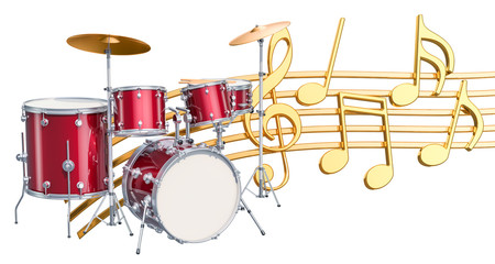 Musical concept. Drum kit with music notes, 3d rendering