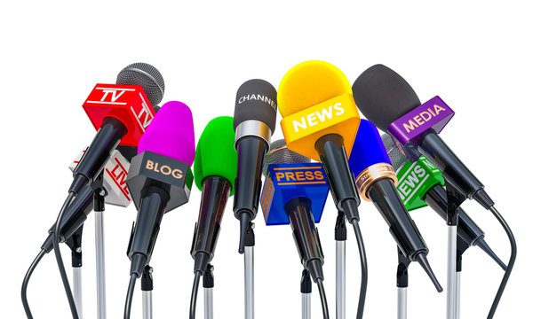 Press conference or interview concept. Microphones of different mass media, 3D rendering