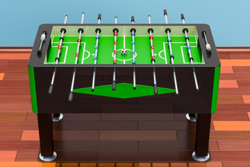 Table football on the wooden floor in the room, 3D rendering