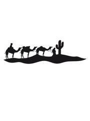 karawane händler reise kaktus kamel silhouette umriss schwarz dromedar höcker wüste zoo
