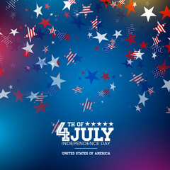 Independence Day of the USA Vector Illustration. Fourth of July Design with Falling Color Star and Typography elements on Blue Background for Banner, Greeting Card, Invitation or Holiday Poster.