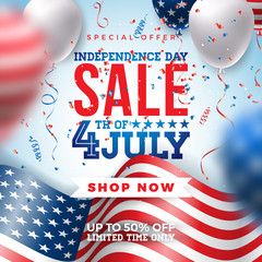 Fourth of July. Independence Day Sale Banner Design with Balloon and Flag on Confetti Background. USA National Holiday Vector Illustration with Special Offer Typography Elements for Coupon, Voucher