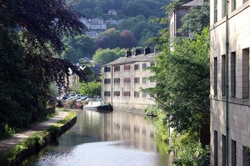 Looking west along the Rochdale Canal at Hebden Bridge, Yorkshire.