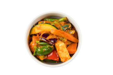 Indian vegetarian dish kadai vegetables in a bowl isolated from background
