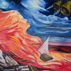 Allegory of poetry. Poetry is compared to fire, water and wind