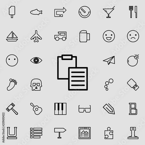 sheet and folder tablet outline icon  Detailed set of