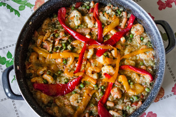Traditional Spanish paella with seafood