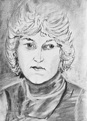 Portrait of a beautiful girl with blonde hair.  Charcoal drawing on paper