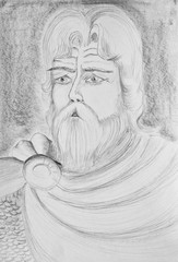 Portrait of a bearded man. An imaginary portrait of an ancient Russian hero