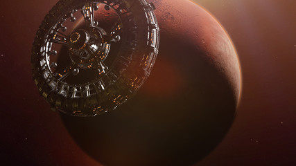 huge space station in orbit of the red planet Mars