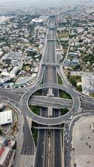 Aerial drone bird's eye view of popular highway of Attiki Odos multilevel junction ring road, passing through Kifisias Avenue in Marousi