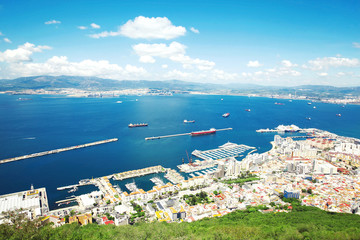 Aerial view of Gibraltar, United Kingdom, city and sea port