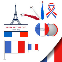 Greeting card design for The Bastille Day fourteen of july or another French holiday. Stylish vector modern illustration and design elements