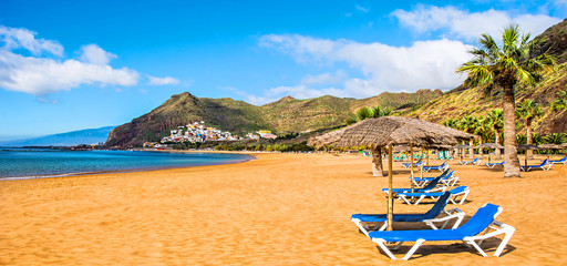 Canary Islands, Tenerife. Beach las Teresitas with yellow sand. Canary Islands. Panorama