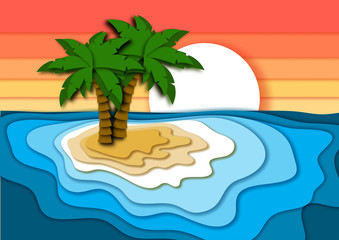 Summer vacation concept with bright tropical island, sand beach, sea or ocean waves and sunset sky.