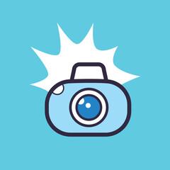 Flashing photo camera icon.