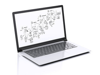 3d Modern Laptop with creative process sketch on screen