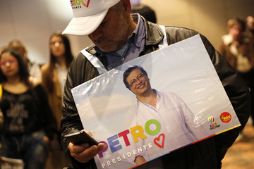Followers of presidential candidate  Petro wait as ballot counting begins during the second round of the presidential election in Bogota