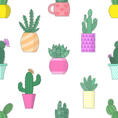 Vector illustration of cacti in flowerpots. Seamless color pattern.