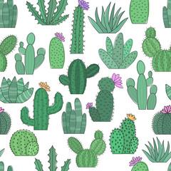 Vector illustration of cartoon cacti. Seamless bright pattern.