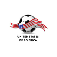 Football ball with united states of america flag colorful trail.