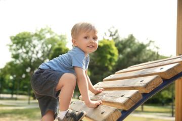 Cute little boy on children's playground