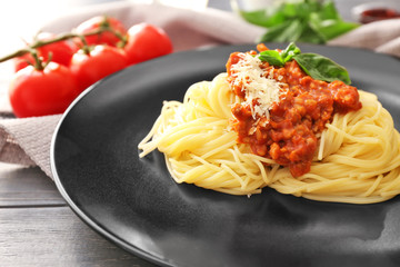 Delicious pasta with meat sauce on plate