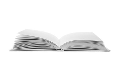 Open book with hard cover on white background