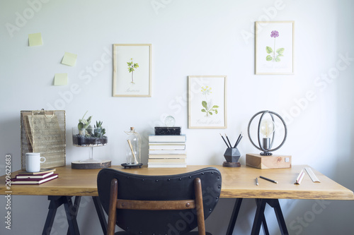 Modern Home Office Interior With Wooden Desk, Books,poster Illustrations Of  Plants, Table