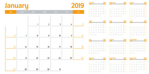Calendar planner 2019 template vector illustration all 12 months week starts on Sunday and indicate weekends on Saturday and Sunday