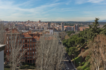 Amazing panoramic view of City of Madrid from Viaduct of Bailen, Spain