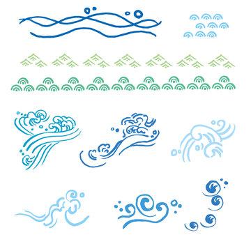 イラスト 海 波 手描き セット