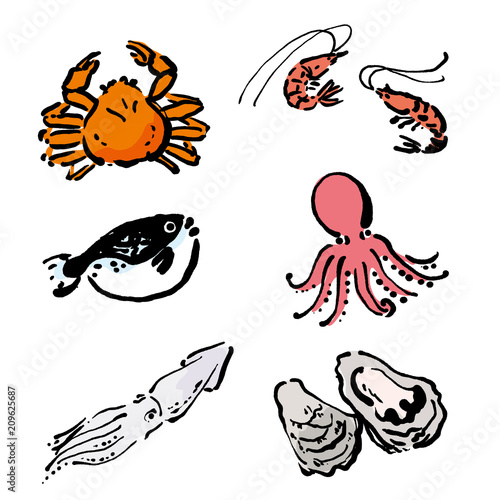 海鮮 イラスト 蟹 牡蠣 えび 手描き セット Fotoliacom の ストック