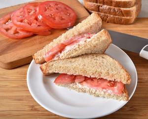 Fresh made tomato sandwich