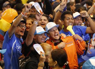 Supporters of presidential candidate Duque celebrate his victory in the second round of the presidential election in Bogota