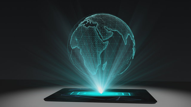 World map projection futuristic holographic display tablet hologram technology