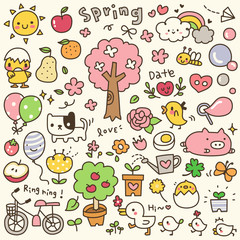 Set of Cute Spring Time Doodle