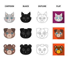 Owl, cow, wolf, dog. Animal's muzzle set collection icons in cartoon,black,outline,flat style vector symbol stock illustration web.