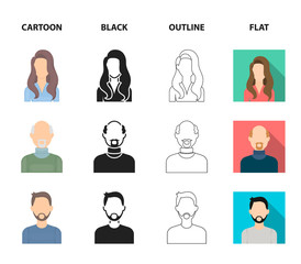Boy blond, bald man, girl with tails, woman.Avatar set collection icons in cartoon,black,outline,flat style vector symbol stock illustration web.