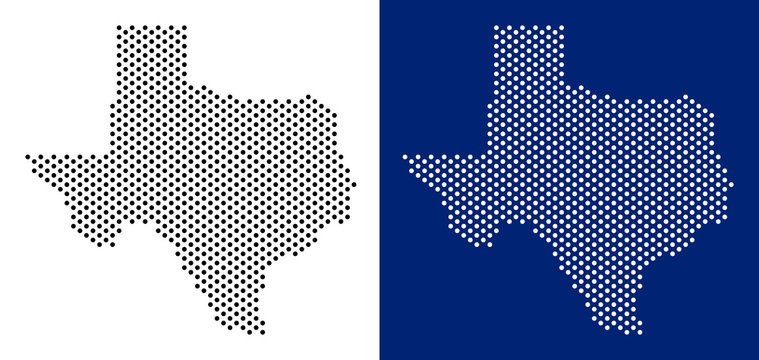 Pixel Texas map. Vector geographic map on white and blue backgrounds. Vector mosaic of Texas map constructed from spheric elements.
