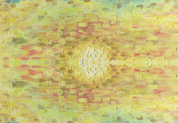 The setting sun in the evening sky. Close-up of the sun. Oil painting on canvas. The structure of large multi-colored brush strokes.