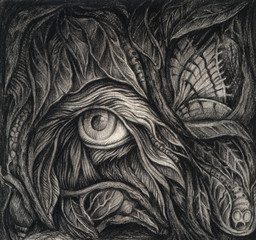 Art Surreal Nature. Hand pencil drawing on paper.