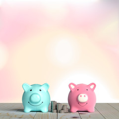 piggy bank pink and blue color