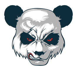 Angry panda. Vector illustration