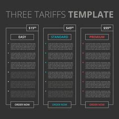 Price list, three tariffs for website