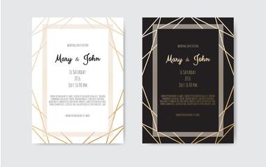 Wedding Invitation, invite card design with Geometrical art lines, gold foil border, frame.