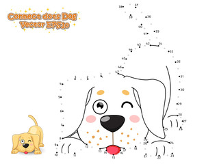 Connect The Dots and Draw Cute Cartoon Dog Puppy Labrador. Educational Game for Kids. Vector Illustration.