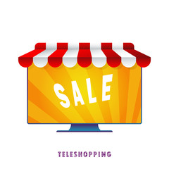 Teleshopping. Vector illustration. Flat. Gradient.