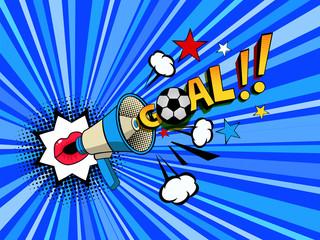 pop art style female lips with megaphone announcer goal soccer ball